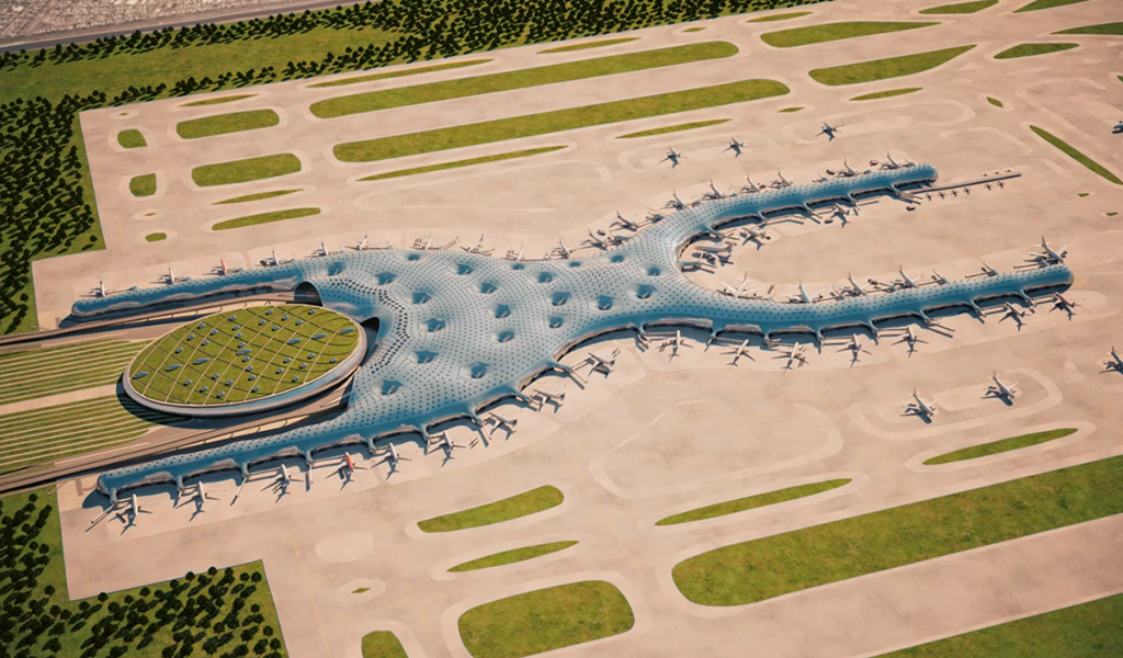 Edificio Terminal del nuevo Aeropuerto Internacional de la Ciudad de México